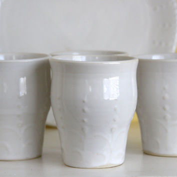 French Country Tumblers Drinking Cup - Set of 4 - Creamy White or Color of your Choice - Henna Design Modern Dinnerware - Ready to Ship