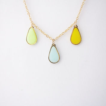 Multicolor drop necklace. Minimalistic necklace. Geometric necklace Fashion necklace