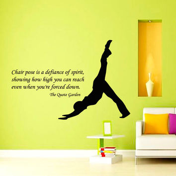 Quote Man Stretching Yoga Pose Gym Sport People Decal Vinyl Sticker Decor Home Interior Design Art Murals M763