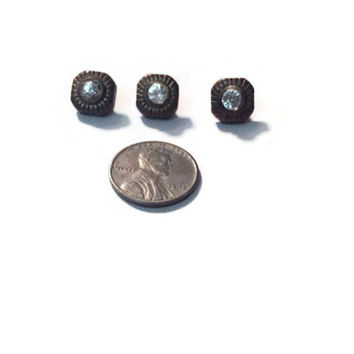 Vintage Small 10mm Brass Tone Buttons with Rhinestone Center with Shank Attachment, Antique Sweater Buttons, #92
