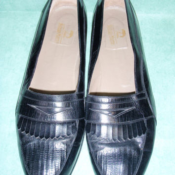 vtg NEIMAN MARCUS genuine LIZARD and Leather Black Loafers sz 13