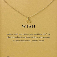 18K Gold Dipped Wishbone Pendant Necklace