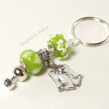 Key Ring - Green and White Pandora Key Chain