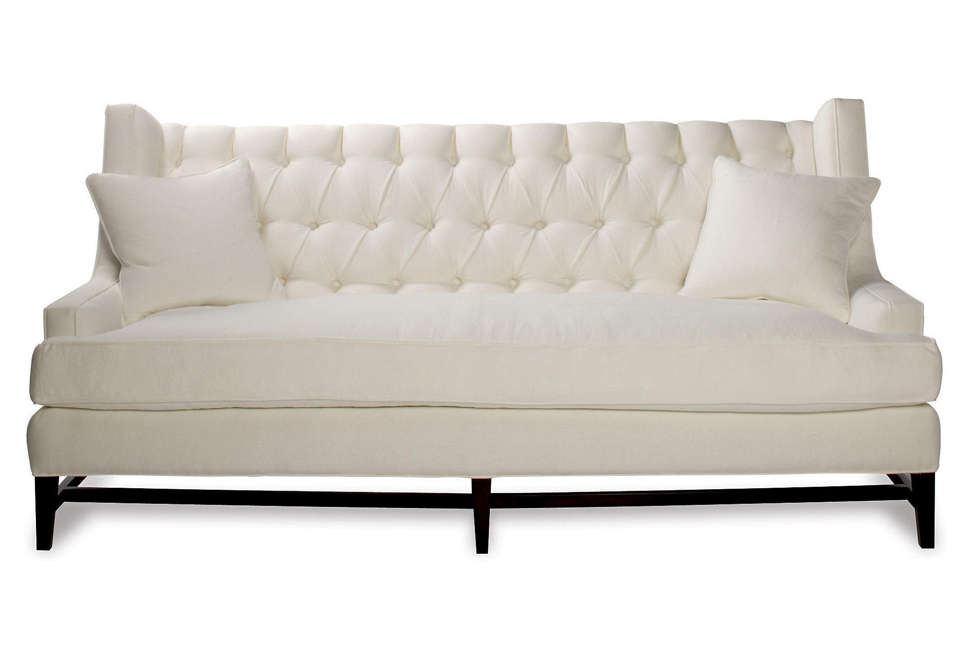Eaton 86 tufted linen sofa white sofas from one kings lane for White linen sectional sofa