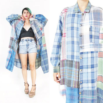 90s Patchwork Plaid Dress Plaid Flannel Shirt Dress Grunge Maxi Dress Long Duster Jacket Slouchy Button Down Front Workwear Shirt (L)