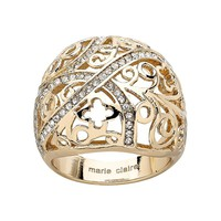 Marie Claire Jewelry Crystal Gold Tone Stainless Steel Filigree Clover Dome Ring (Yellow)
