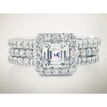 A Perfect 1.6CT Asscher Cut Russian Lab Diamond Halo Bridal Set Ring