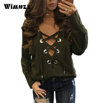 Wimuzz Lace Up Casual T Shirt Women Sexy Deep V Neck Batwing Sleeve Tee Shirt Femme Plus Size Strappy Tops