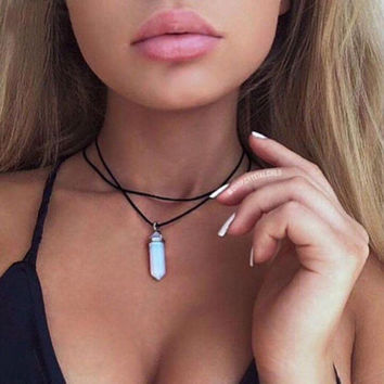 Natural opal crystal leather choker necklace -03322