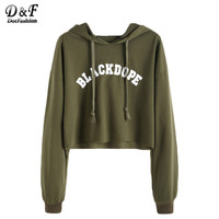 Dotfashion Hoodies Women Kawaii Clothes Women Hoodies Sweatshirts Kpop Clothes Letter Print Raw Hem Crop Sweatshirt
