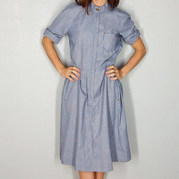 Rosie the Riveter Vintage Dress, Denim Shift Dress, Small, extra small, Blue 1960s Dress