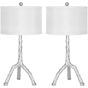 Painted Branch Table Lamp Set, Silver, Table Lamps