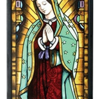 Our Lady of Guadalupe Mexico Mary Stained Glass 14.5H