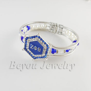 ZETA PHI BETA  Sorority Bracelet ZPB charm bead cuff  bangle