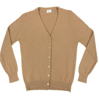 Vintage Tan Cardigan Sweater - Cashmere V Neck Preppy Ivy League - Women's Size Medium Med M