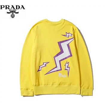 Prada Autumn And Winter Fashion New  Back Lightning Letter Print Women Men Long Sleeve Top Sweater Yellow