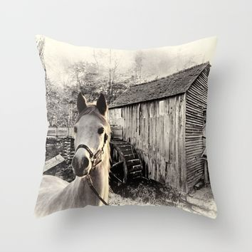 Horse At The Old Mill Throw Pillow by Theresa Campbell D'August Art