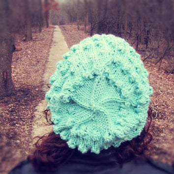 Light Blue Bubble Beret Womens by AutumnAndAmber on Etsy