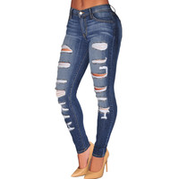High Waist Stretchy Ripped Skinny Jeans in Blue