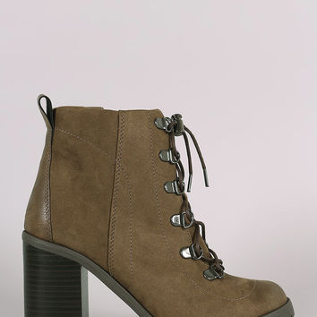 Qupid Lace Up Lug Sole Chunky Heeled Booties