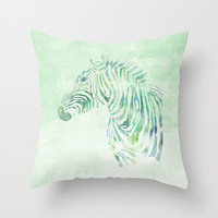 "Zebra Pillow Case, Zebra Pillow Cover, Deer Throw Pillow, Animal Pillow Case, Decorative Pillow Case, 18"" Velveteen Pillow Case, Pastel"