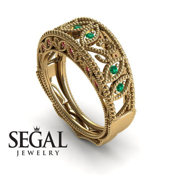 Unique Engagement Ring 14K Yellow Gold Vintage Art Deco Edwardian Ring Filigree Ring Green Emerald With Ruby - Gianna