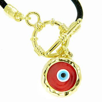 Handcrafted Amulet Evil Eye Protection Red Enamel Bracelet