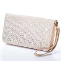 Your Party Shoes HB205 Nude Jeweled Wallet Style Clutch
