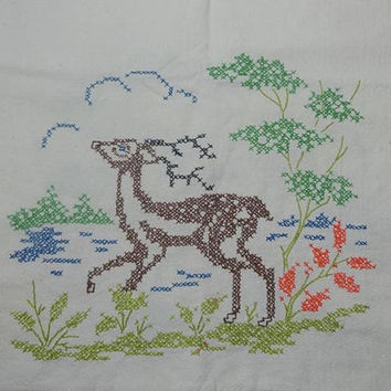 1960s Vintage Embroidered Towel with Deer Buck, Woodlands Scene, UPCYCLE Supply with Stains, Vintage Linens, Hand Embroidery, Scene Each End