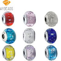 Sterling Silver Murano Glass Sparkling CZ Charm Beads
