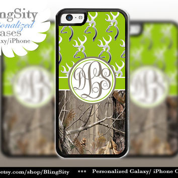 Monogram Iphone 5C case Browning Apple Green iPhone 5s iPhone 4 case Ipod 4 5 case Real Tree Camo Deer Personalized Country Inspired Girl