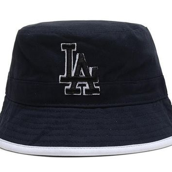 PEAPON Los Angeles Dodgers Full Leather Bucket Hats Blue