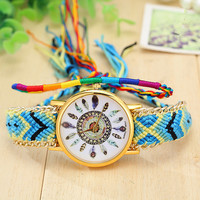 Peocock Feather Dial Wool Knitting Bracelet Dream Catcher Watch Tribal Jewelry