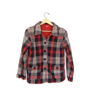 Vintage Plaid Flannel Jacket Cotton Insulated Button Up Fall Coat. Work Chore Jacket Grunge Front Pockets Red black white. Tomboy