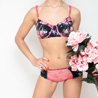 MIDNIGHT - Floral lycra and lace lingerie set / Ready to ship