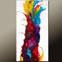 Abstract Art Painting on Canvas - 24x48 Contemporary Canvas Art by Destiny Womack - dWo -  The Way to Paradise