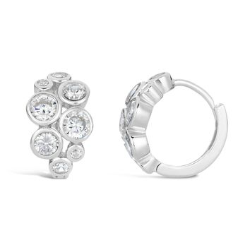 Sterling Silver 13MM Huggie Hoop Circle Cluster Cubic Zirconium Earrings