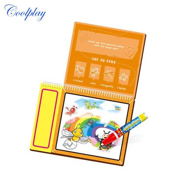 1 Pcs No Ink Non-toxic Magic Water Drawing Book with 1Magic Pen Coloring Insect Reusable Painting Board Educational toy For Kids