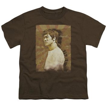 Bruce Lee Kids T-Shirt Vintage Angry Portrait Coffee Tee