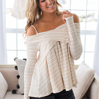 Calling Me Down Off The Shoulder Crossover Top (Taupe)