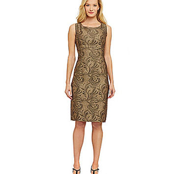 Kasper Metallic Jacquard Sheath Dress - Black/Gold