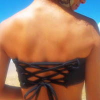 Weekend Sale- Scrunch Front Bandeau with corset back- black