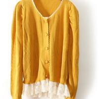Women Autumn New Style Casual Cute Lace Fashion Knitting Yellow Sweater Cardigans@WMI2815y $18.99 only in eFexcity.com.