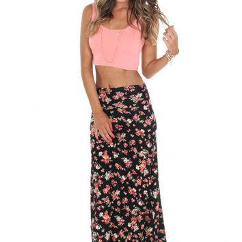 Floral Foldover Maxi Skirt Red