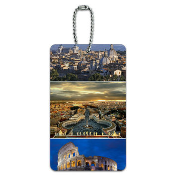 City of Rome Italy - Colloseum - Saint Peters Square ID Card Luggage Tag