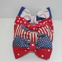 American Inspired Hair Bow Collection (Each sold separately) *clip on metal barrette *