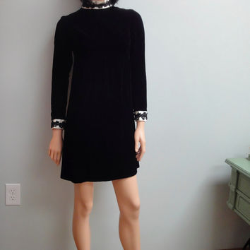 60s Black Velvet Lolita Mini Dress, Betty Lane Original, High White Satin Collar and Cuffs, Black Trim, Petite