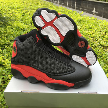 "Air Jordan 13 ""Bred"" Black/Red AJ13 Retro Basketball Shoes"