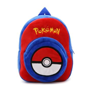 Soft Nap  Elves Ball Backpack Baby Bag Children Teenagers School Shoulder Bag Boy Girl  Pocket Monster Bag BY0064Kawaii Pokemon go  AT_89_9