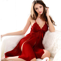2016 Hot Sale Women Spaghetti Straps Mesh Lace Slips Sexy Nightwear Nightgown Nightdress Lady Sleepwear Pajamas Free Shipping